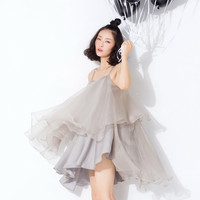 asymmetrical dress in gray,white,strap,short length,layers,backless,made from silk and organza,high fashion,resort,beach,for summer.--E0189