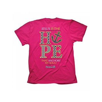 Cherished Girl Jesus is the Hope that Anchors My Soul Chevron Girlie Christian Bright T Shirt