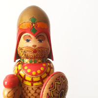 Vintage Handmade Wooden Viking Figure / Figurine / Cute Colorful Nesting Doll / Container / Home Decor