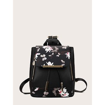 Butterfly Pattern Flap Backpack
