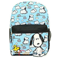 "Peanuts Snoopy 17"" Large School Backpack All Over Prints Bag Snoopy Lost Clouds"