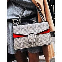 Guchi sells fashionable Dionysian printed bags, snake square oblique bags Red