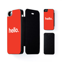 Hello Black Flip Case for Apple iPhone 5 / 5s by textGuy