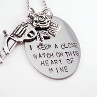 Close Watch On This Heart Of Mine - Hand Stamped Stainless Steel Disc Pendant - Gun - Johnny Cash - Country Music - Lyric Necklace