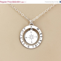 Engravalbe Compass Necklace, Custom Coordinates Personalized Sterling Silver Disc Necklace, Bridesmaids or Special Wedding Gift, Anniversar