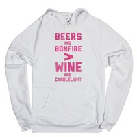 Beers and Bonfire > Wine and Candlelight-Unisex White Hoodie