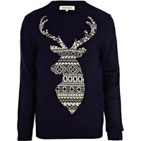 River Island MensNavy fair isle stag sweater