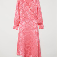 Jacquard-weave dress - Pink/Leaf-patterned - Ladies | H&M GB