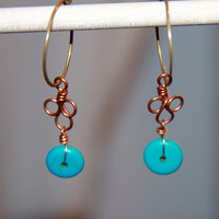 Turquoise dangle earrings, boho jewelry, turquoise hoop earrings, Turquoise Mixed Media Earrings, Gifts for Her