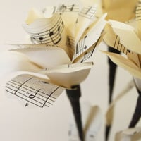 Upcycled Sheet Music Paper Flowers by mrgnome on Etsy