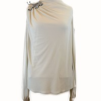 Badgley Mischka Embellished Blouse in Taupe