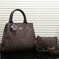 Coach Women Fashion Leather Satchel Shoulder Bag Handbag Crossbody Two Piece Set