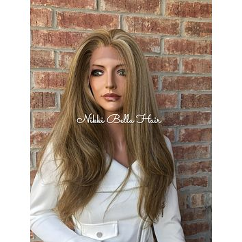 """Connie Balayage Straight Textured Human Hair Blend Multi Parting  Lace Front Wig 22"""""""
