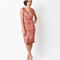 Preorder - Unique Vintage 1920s Peach Deco Beaded Caspian Flapper Dress