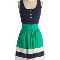 Nautical Mid-length Sleeveless Twofer Schooner Said Than Done Dress in Green
