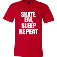 Skate Eat Sleep Repeat Tshirt. Sport Shirts For All Ages. Great Shirt Ladies and Unisex Style Shirt.  Makes a Great Gift