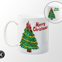 Christmas Tree Coffee Mug - Merry Christmas - Happy Holidays - Drake Mug - 11 oz Coffee Mug - Red - Blue - Purple - Teal - Green Balls
