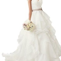 Elegant Ruffles Organza Wedding Dresses for Bride Bridal Gowns with Sash
