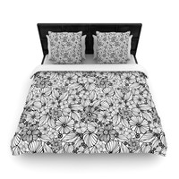 "Julia Grifol ""Candy Flowers In Black"" Gray White Woven Duvet Cover"