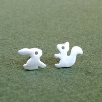 Tiny  Forest Friends 1 Bunny Squirrel stud earrings sterling silver rabbit gift women kids girl teen mom s Jewelrymini Christmas Halloween