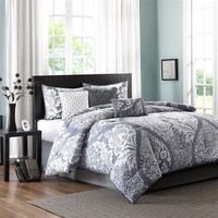 Madison Park Vienna 7 Piece Comforter Queen Set | Grey