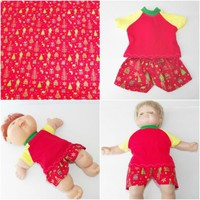 """Cabbage Patch Clothes 14 inch doll / 15"""" Bitty Baby HANDMADE Red Christmas Short"""