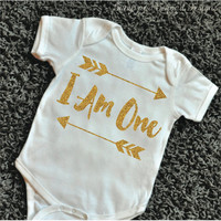 First Birthday Outfit I Am One Shirt Gold Glitter Girl First Birthday Outfit Golden Arrow Hipster Gold Birthday Shirt 087