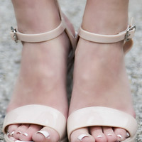 Save The Last Dance Nude Jelly Wedge Sandals With Ankle Strap