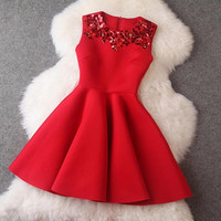 Winter Dress Red Sleeveless Sequined Mini Dresses Black Princess Office Casual Women Dress = 1932385540