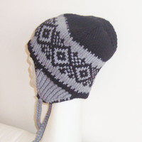 Hand Knit Hat - Wool Mens or Womens Hat with Ear Flap in Grey and Black READY TO SHIP