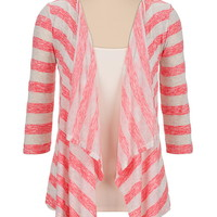 Open front lightweight striped cardiwrap