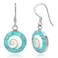 925 Sterling Silver Turquoise and Shiva Eye Shell Inlay Round Dangle Hook Earrings