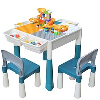 Kids 4-in-1 Multi Activity Build Table and 2 Chair Set 120 Pieces Large Building Blocks Water Table Building Block Table Play Arts Crafts Table with Storage Space for Kids Toddler (Primary, 20 inch) Primary