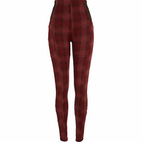 Red check jacquard high waisted leggings - leggings - trousers - women