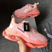 BALENCIAGA Triple S High Quality Women Contrast Color Crystal Soles Shoes Sport Sneakers Pink