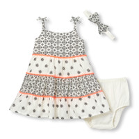 Baby Girls Sleeveless Geometric Flower Print Pom Pom Dress Bow Headwrap And Bloomers Set   The Children's Place