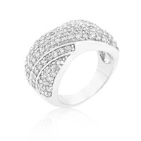 Pave Overlap Diagonal Ring, size : 05
