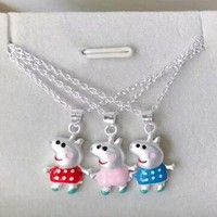 Peppa Pig New fashion pig clavicle couple necklace
