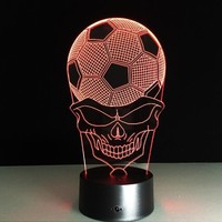 3D Desk Lamp Football Skull Led Night Light Table Lamp