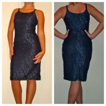 80s Dark Blue Lace Beaded & Sequin Cocktail Spaghetti Strap Dress, slinky evening dress, prom dress