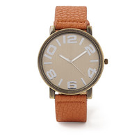 Faux Leather-Strap Watch Tan One