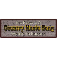 "10.5"" x 3.5"" Tin Sign Country Music Song"