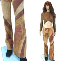 Suede Hip Huggers/ Patchwork Suede Leather Low Rise Pant / Colorblock Vintage Bell Bottom Flare Pants Hippie Boho Pant/ Sexy Leather Pants