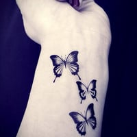 3pcs Butterfly tattoo - InknArt Temporary Tattoo - pack tattoo quote wrist ankle body sticker anchor bird fake tattoo