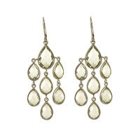 Chandeliers Drops Of Green Amethyst Earrings Set In Rhodium Plated Sterling Silver