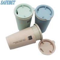 SAFEBET Brand 2017 Wheat Straw Hand Cup Fashion Mini Vacuum Mugs Coffee Cup Student Sport Thermos Bottle Cheap And Affordable
