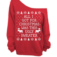 Ugly Christmas Sweater - Red Slouchy Oversized Sweater