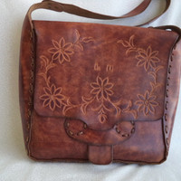 Large leather tooled bag/ vintage leather bohemian purse/ vintage handmade tooled with flowers/ brown leather tablet bag