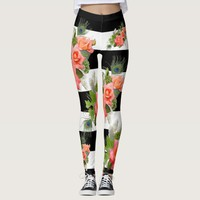 Roses Floral Striped Pattern Peacock Feathers Leggings