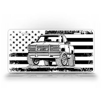 Black And White Square Body Truck American Flag License Plate